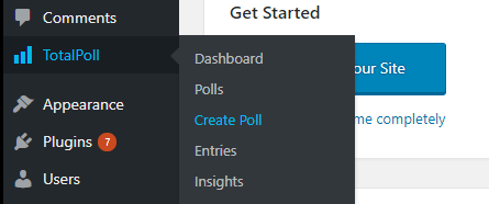 Create poll from TotalPoll menu
