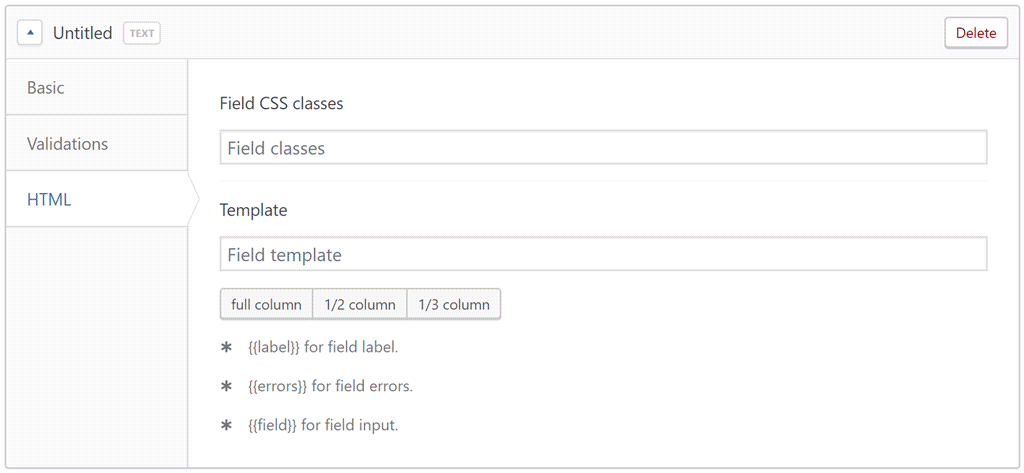 Custom field HTML settings