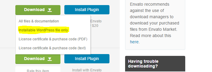 Download only installable file from CodeCanyon