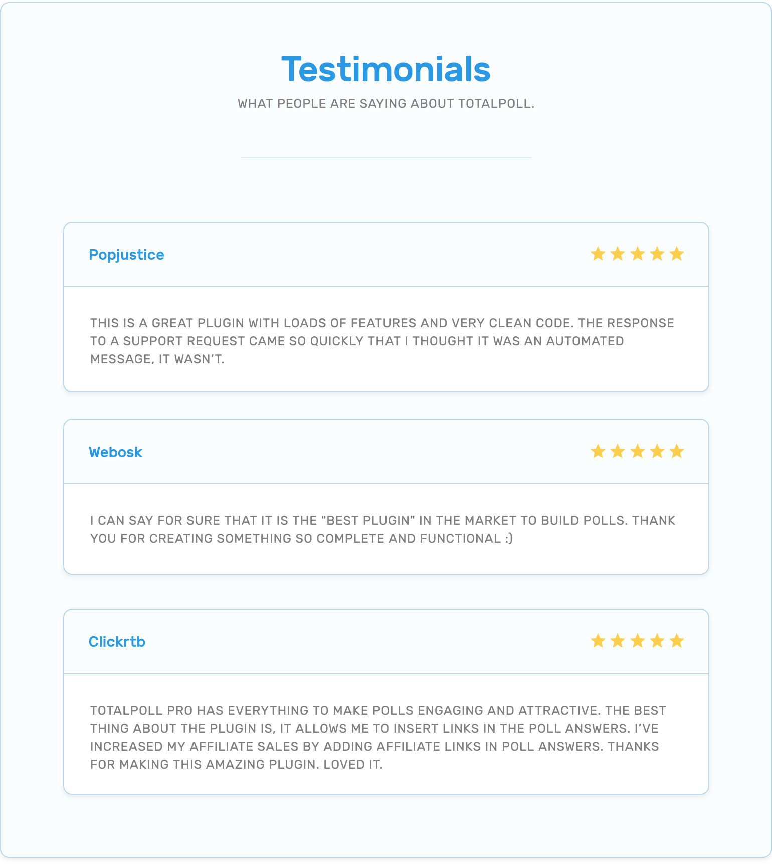 Testimonials of customers who used TotalPoll.